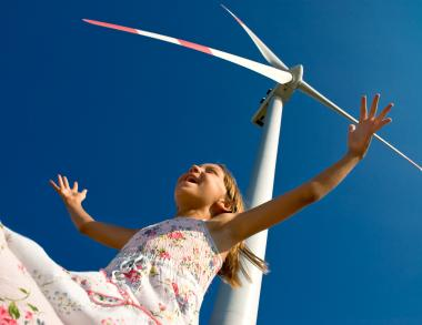 girl wind turbine